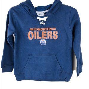 NHL Edmonton Oilers Hoodie Boys M 5/6 Blue New